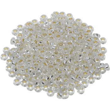 Size 6 Toho Demi Round Seed Beads -- Crystal / Silver Lined Permanent Finish