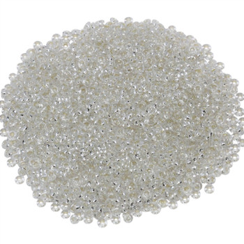 Size 11 Toho Demi Round Seed Beads -- Permanent Finish Crystal / Silver Lined