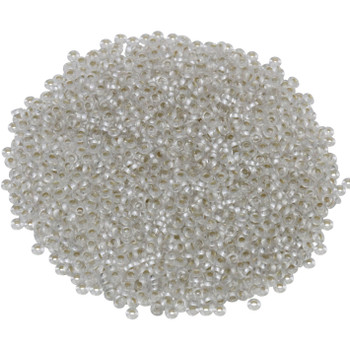 Size 11 Toho Demi Round Seed Beads -- Crystal / Silver Lined Frost Permanent Finish