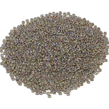 Size 11 Toho Demi Round Seed Beads -- Crystal Rainbow / Gold Lined