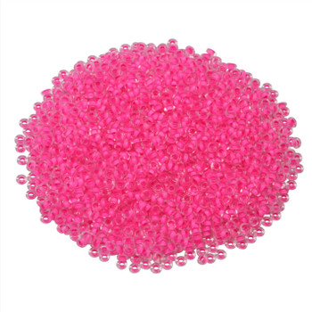 Size 11 Toho Demi Round Seed Beads -- Crystal Matte / Neon Pink Lined