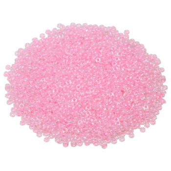 Size 11 Toho Demi Round Seed Beads -- Crystal / Cotton Candy Lined