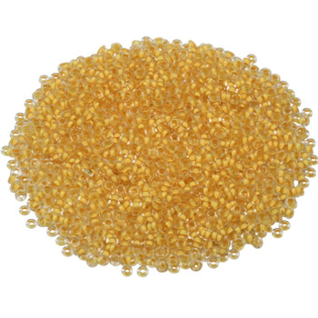 Size 11 Toho Demi Round Seed Beads -- Crystal Frosted / Butter Lined