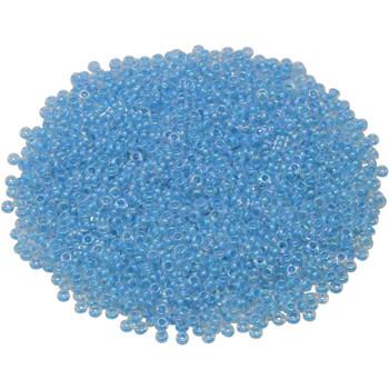Size 11 Toho Demi Round Seed Beads -- Crystal Rainbow / Opaque Aqua Lined