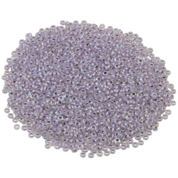 Size 11 Toho Demi Round Seed Beads -- Crystal Rainbow / Pale Lavender Lined