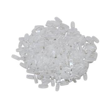 Quarter Tila Beads -- Opaque White Luster