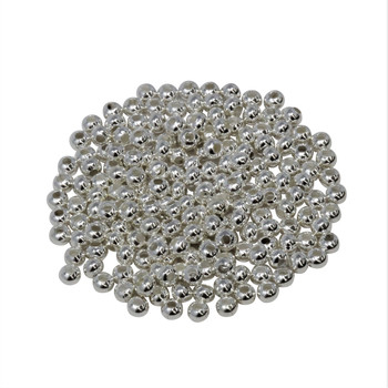 Size 8 Round Seed Beads -- Silver Plated Brass