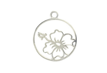 Framed Hibiscus Flower - Sterling Silver