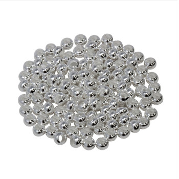 Size 6 Round Seed Beads -- Silver Plated Brass