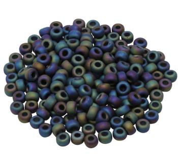 Size 5 Miyuki Seed Beads -- Black Matte AB