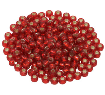 Size 5 Miyuki Seed Beads -- Red Orange / Silver Lined