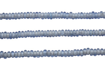 Ghana Glass Polished 6-7mm Spacer - Transparent Blue