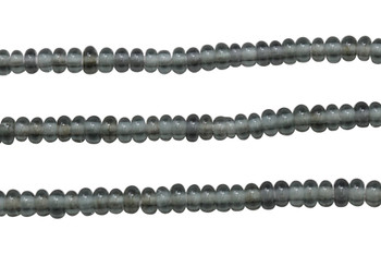 Ghana Glass Polished 6-7mm Spacer - Transparent Grey