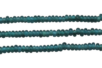 Ghana Glass Polished 6-7mm Spacer - Transparent Dark Teal