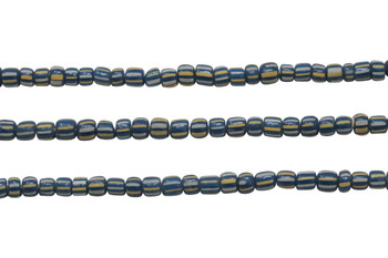Gooseberry Glass Matte 4-5mm Semi Round - Navy / Cream Stripe