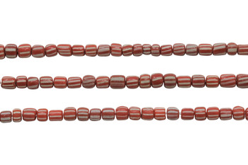 Gooseberry Glass Matte 4-5mm Semi Round - Orange Striped