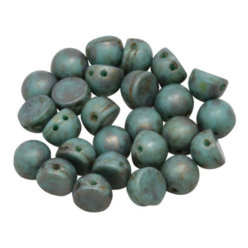 CzechMates® 7mm Cabochon 2 Hole Beads -- Copper Picasso Turquoise