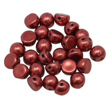 CzechMates® 7mm Cabochon 2 Hole Beads -- Samba Red Sueded Gold