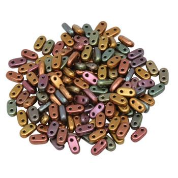 CzechMates® 2 Hole Bar Beads -- Metallic Bronze iris Matte