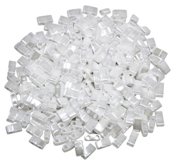1/2 Cut 5mm Tila Beads -- White Luster