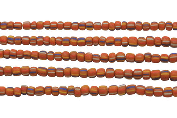 Gooseberry Glass Matte 5-6mm Semi Round - Orange Blue / Mix