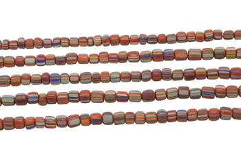 Gooseberry Glass Matte 4-5mm Semi Round - Orange Blue / Beige