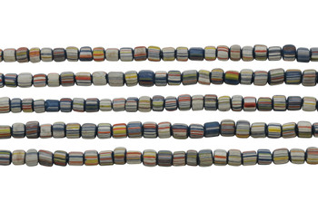Gooseberry Glass Matte 5-6mm Semi Round - Navy Mix Stripe