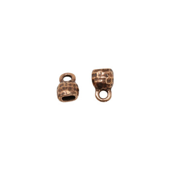 Distressed 4x2mm Crimp End Cap - Copper Plated