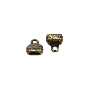 Distressed 6x2mm Crimp End Cap - Brass Plated
