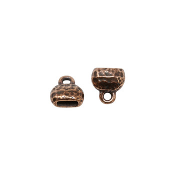 Distressed 6x2mm Crimp End Cap - Copper Plated