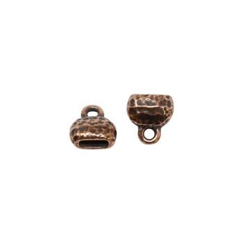 Distressed 6x2mm Crimp End Cap - Copper Plated
