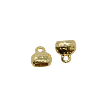 Distressed 6x2mm Crimp End Cap - Gold Plated
