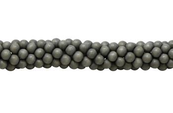Dyed Sage Grey Wood Polished 8mm Round