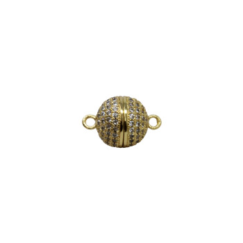 Gold 10mm Micro Pave Round Magnetic Clasp