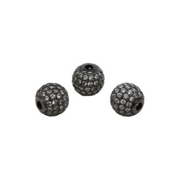 Gunmetal 10mm Micro Pave Round Bead