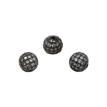 Gunmetal 8mm Micro Pave Round Bead