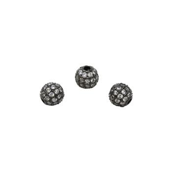 Gunmetal 6mm Micro Pave Round Bead