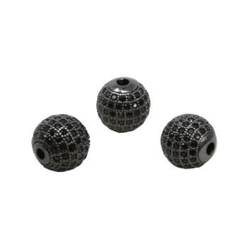 Black 12mm Micro Pave Round Bead