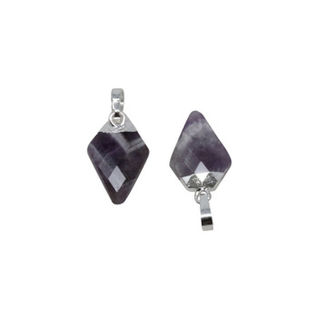 Silver Plated 11x7mm Chevron Amethyst Arrowhead Pendant