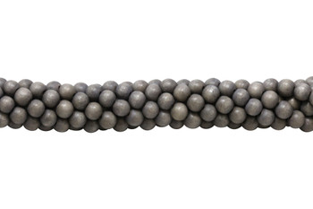 Dyed Dark Lavender Grey Wood Polished 8mm Round