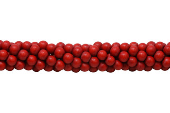 Dyed Red Wood Polished 8mm Round
