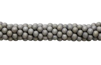 Dyed Light Grey Wood Polished 8mm Round