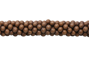 Dyed Brown Wood Polished 8mm Round
