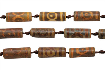 Tibetan Style Agate Matte / Polished 30x10mm Tube - Golden Brown