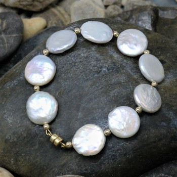 White Freshwater Pearls A Grade 12mm Coin