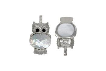 Abalone Silver Owl Pendant