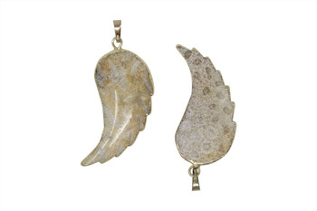 Fossil Jasper Polished 25x45mm Wing Gold Edge Pendant