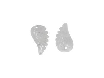 Crystal Quartz Polished 10x18mm Carved Angel Wing