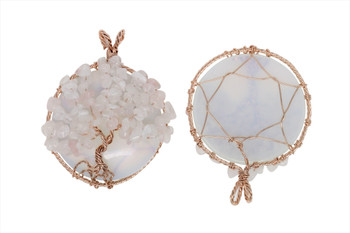 Rose Quartz Copper Wire Wrapped Tree Round Opalite Pendant