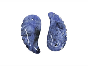 Sodalite Polished 16x35mm Carved Angel Wing